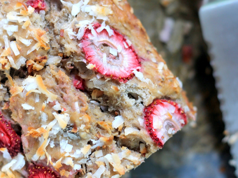 Strawberry Coconut Chia Seed Banana Bread