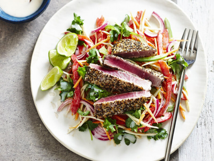 Chia-Seared Tuna with Rainbow Salad