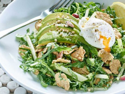 Gluten Free Breakfast Salad with Poach Egg, Kale and Avocado