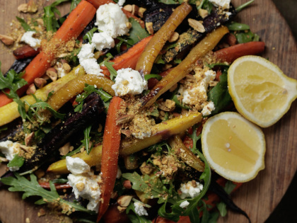 Roasted carrot with almond dukkah and labne