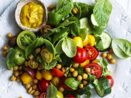 Chickpea and Tomato Salad with Coconut Dressing